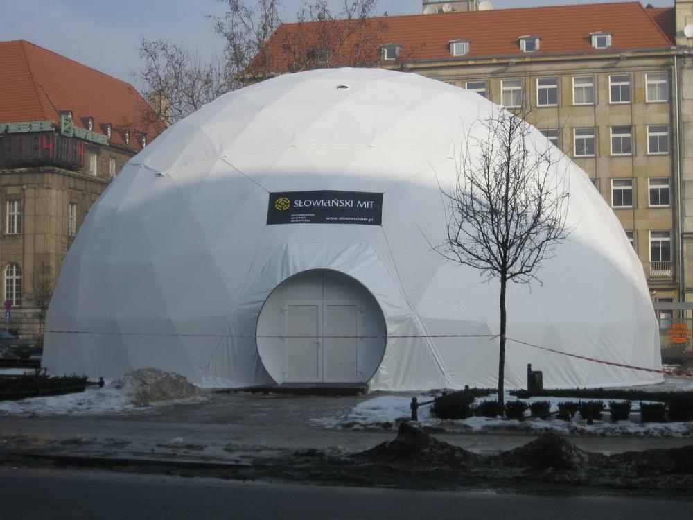 Multimedia historical exhibition «Slavic Myth»   Geodesic Domes Ø20m & Ø6m
